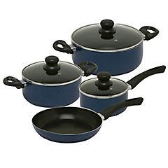 Batería de cocina 7 piezas aluminio Azul