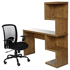 Combo 1 Escritorio Estante Oak + 1 Silla Pc Malla