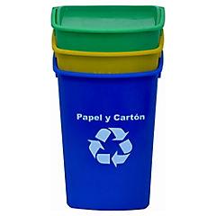 Set de basureros con tapa 30 litros 3 unidades