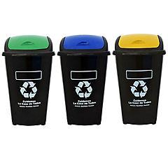 Set de basureros con tapa 60 litros 3 unidades