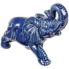 Elefante decorativo 17,7x8x27,9 cm cerámica azul