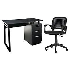 Combo Escritorio 3 cajones negro + Silla de escritorio giratorio Ergo