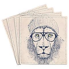 Set de 4 posavasos Cool Lion Artista de Hungría