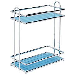 Rack de baño 2 niveles plástico azul