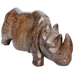 Rinoceronte decorativo 19x14x41 cm cerámica ocre