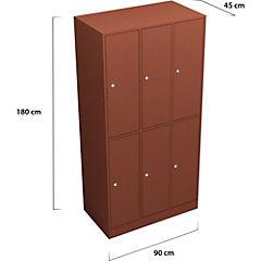 Lockers Madera 3 cuerpos 6 puertas con cerradura y llave tradicional