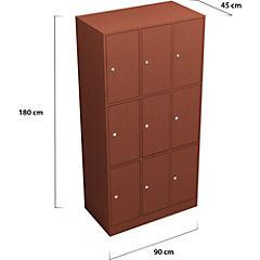 Lockers Madera 3 cuerpos 9 puertas con cerradura y llave tradicional