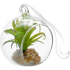Suculenta artificial 10x10 cm con esfera de vidrio