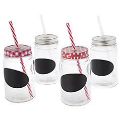Set de jarras 4 unidades sin mango con tapas y bombillas