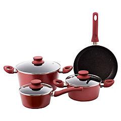 Batería de Cocina 7 Piezas Aluminio Rojo