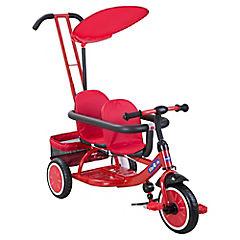 Triciclo doble con manilla y toldo rojo