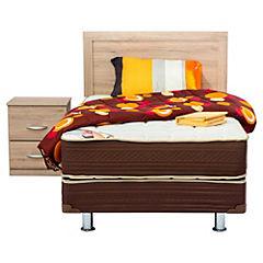 Box Americano Lumbar, 1 plaza, con respaldo Alpina, 1 velador Alpina y textil
