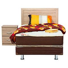 Box Americano Lumbar, 1.5 plazas, con respaldo Alpina, 1 velador Alpina y textil