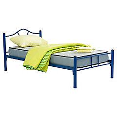 Cama metálica Monte 1 plaza parrilla de madera con colchón de espuma y textil