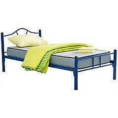 Cama metálica Monte 1.5 plazas parrilla de madera con colchón de espuma y textil