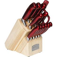Set de cuchillos con taco 14 piezas rojo