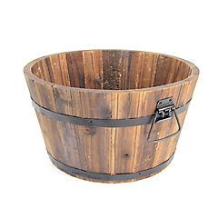 Macetero tipo barril de madera 29x16,5 cm