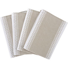 Set de 4 servilletas Bico beige/blanco