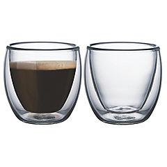 Juego tazas café 2 piezas vidrio doble Service