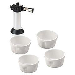 Juego para crème brûlée 5 piezas Blanco
