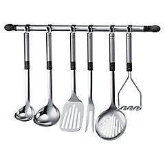 Barra para colgar accesorios de cocina 63 cm acero Gris