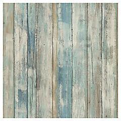 Láminas autoadhesivas Reutilizables madera azul 52x503 cm