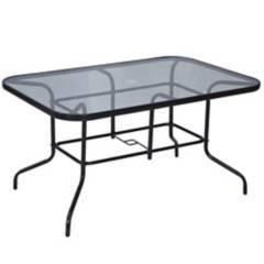 JUST HOME COLLECTION - Mesa rectangular 140x90 cm con vidrio negra