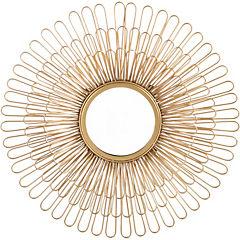 Espejo redondo flor dorada 61 cm