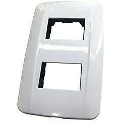 Placa 2 módulos con soporte 10 A Blanco