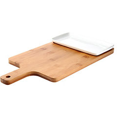 Fuente rectangular con tabla de bambú