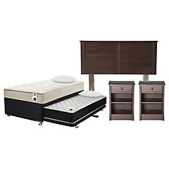 Combo Diván base normal 1,5 plazas con almohadas + Respaldo + Velador