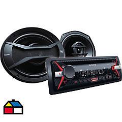 Set radio + parlantes para auto Negro