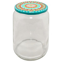 Frasco con tapa 1 litro vidrio Transparente