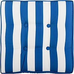 Cojín para piso 50x50 cm azul y blanco