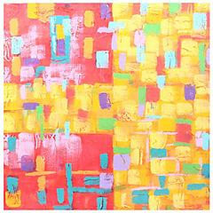 Oleo Cubos abstracto 60x60 cm