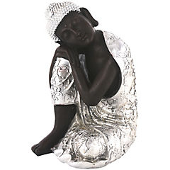 Buda negro descanso plata 35 cm