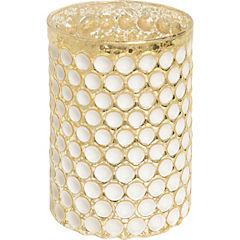 Portavela dorado y blanco 12 cm