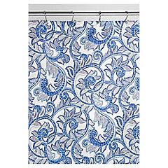 Cortina de baño Mosaico poliéster 180x180 cm azul
