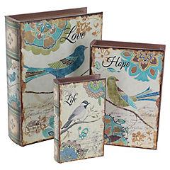 Set de 3 libros Pájaro azul 32/26/20 cm
