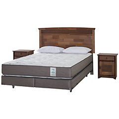 Box Spring 2 Plazas Long Base Dividida + Muebles Veneto + 2 Almohadas