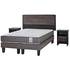 Cama Americana 2 Plazas Long Base Dividida + Muebles Karl
