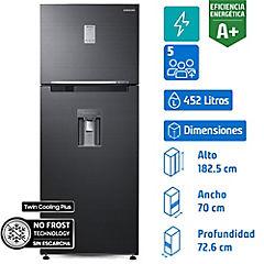 Refrigerador no frost top mount freezer 452 litros gris