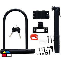 Kit de luz + bombín + candado U-Lock para bicicleta