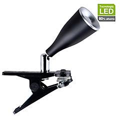Lámpara escritorio pinza LED Novo negro