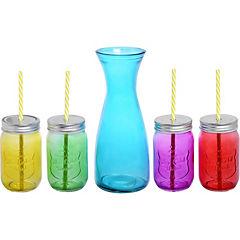 Jarro con 4 vasos Mason color