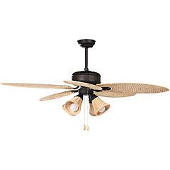 Ventilador de techo ratán 4 luces 3 velocidades