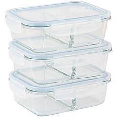 Set de contenedores vidrio 3 piezas transparente