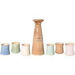 Juego pisco sour de jarra + 6 vasos cerámica