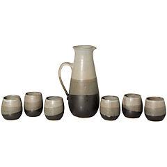 Juego pisco sour de jarra + 6 vasos cerámica grafito