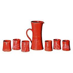 Juego pisco sour de jarra + 6 vasos cerámica rojo
